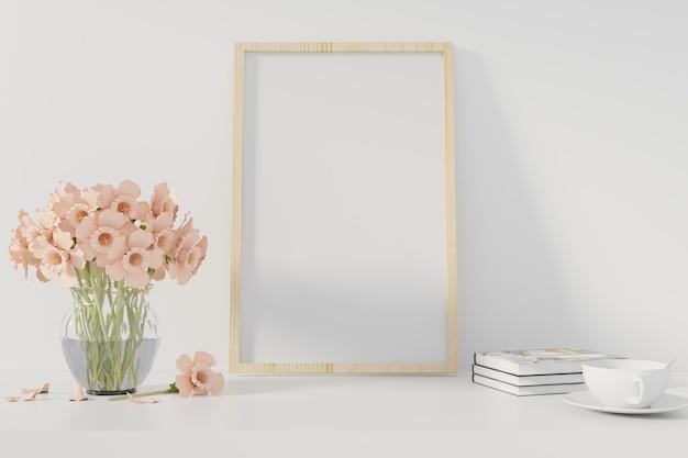 Manifesto del mockup con cornice in piedi sulla scrivania in salotto. rendering 3d. - illustrazione Foto Premium