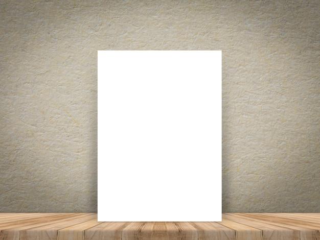 Manifesto in bianco del libro bianco al pavimento e alla parete di legno della plancia tropicale. Foto Premium