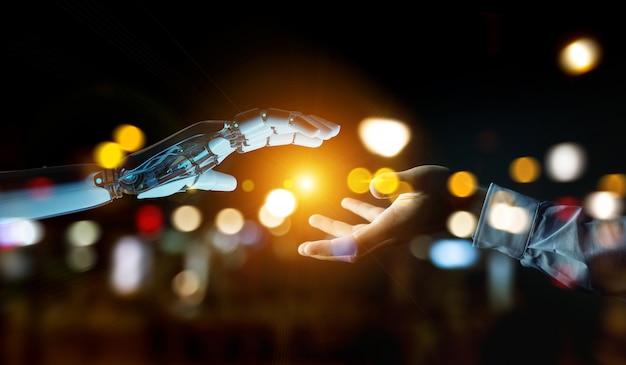 Mano bianca del cyborg che sta per toccare la rappresentazione umana della mano 3d Foto Premium