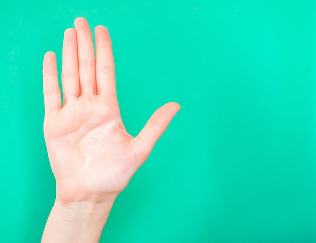 Mano che mostra il segnale di stop. usa il palmo della tua mano per mostrare quando vuoi che qualcosa o qualcuno si fermi. Foto Premium