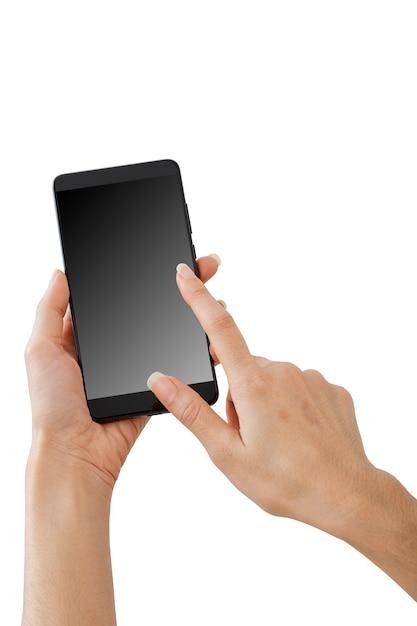 Mano che tiene il telefono intelligente mockup Foto Premium