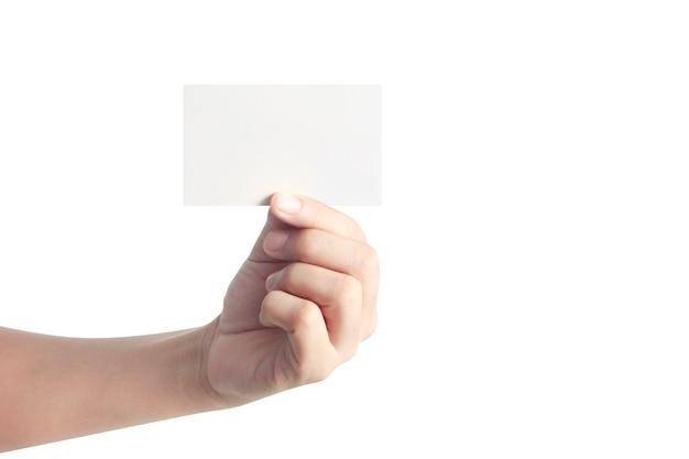 Mano che tiene la carta virtuale con il tuo Foto Premium