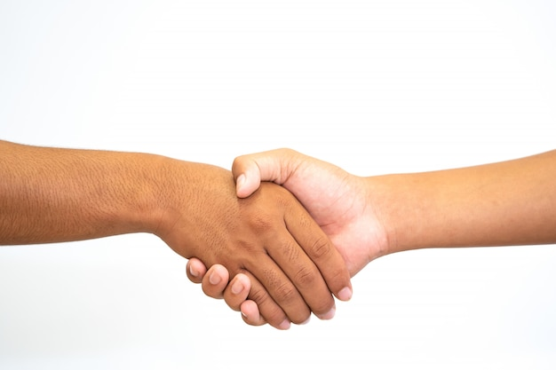 Mano che tiene la mano o stringere la mano Foto Premium