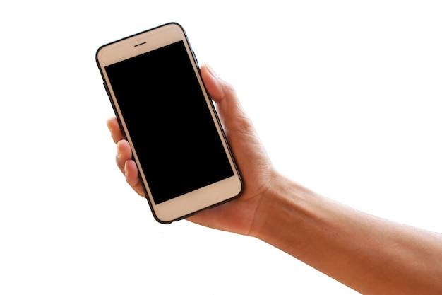 Mano che tiene smartphone o telefono mobile Foto Premium