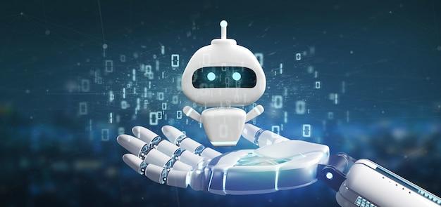 Mano cyborg con chatbot con codice binario Foto Premium