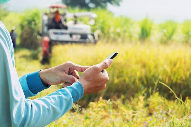 Mano del contadino con il cellulare. agricoltura Foto Premium