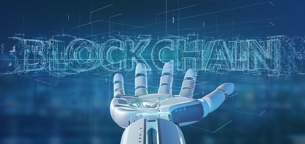 Mano del cyborg che tiene una rappresentazione di titolo 3d di blockchain Foto Premium