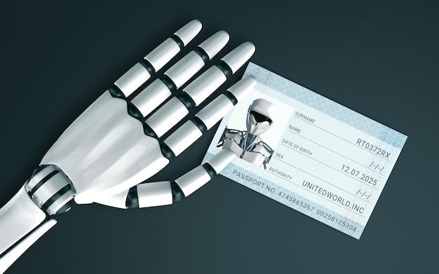 Mano del robot sul tavolo con un passaporto id Foto Premium
