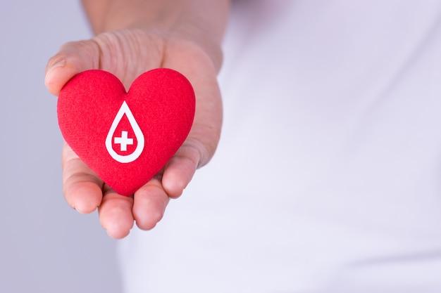 Mano della donna che tiene cuore rosso con il segno del donatore di sangue fatto da libro bianco per il concetto di donazione di sangue Foto Premium