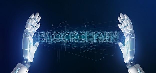 Mano di cyborg che tiene un titolo blockchain Foto Premium