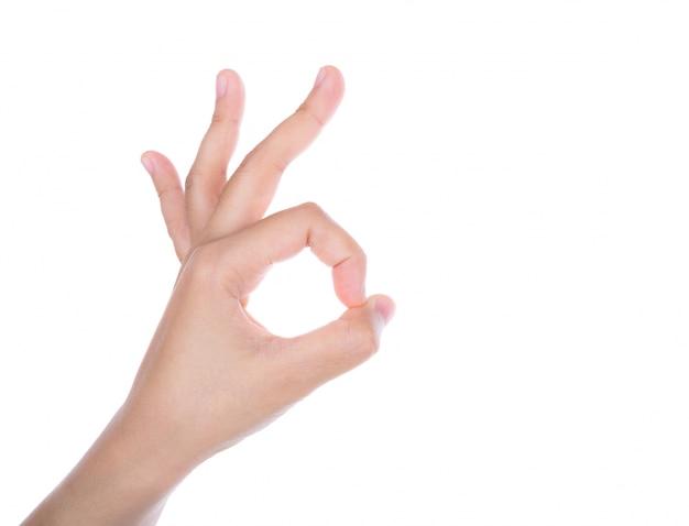 """Mano facendo il gesto di """"ok"""" Foto Gratuite"""