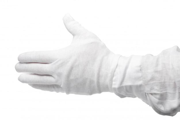 Mano in un guanto bianco isolato. gesto accattivante. gesticolazione Foto Premium