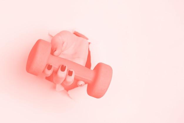 Manubrio mano che regge. fitness, sport, stile di vita sano, concetto di dieta. Foto Premium