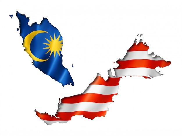 Mappa della bandiera della malesia Foto Premium