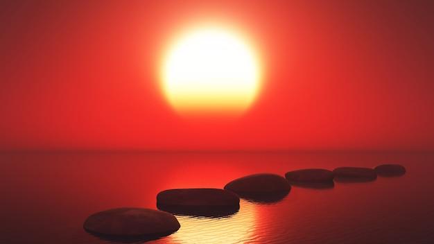 Mare al tramonto con un percorso di pietre Foto Gratuite
