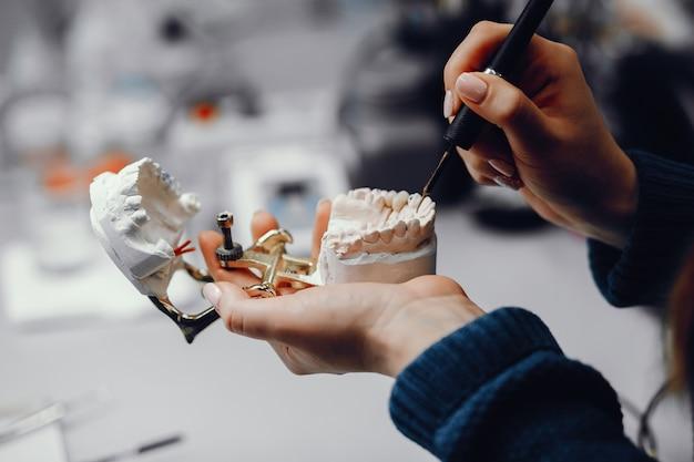 Mascella artificiale nell'ufficio del dentista Foto Gratuite