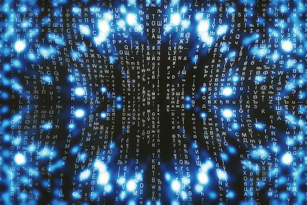 Matrice blu digitale. cyberspace astratto. i personaggi cadono. matrice dal flusso di simboli. progettazione di realtà virtuale. pirateria informatica complessa. ciano scintille digitali. Foto Premium