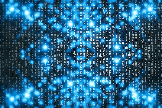 Matrice blu sfondo digitale. Foto Premium