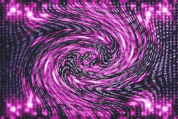 Matrice rosa digitale. cyberspace distorto. i personaggi cadono nel wormhole. matrice compromessa. progettazione di realtà virtuale. pirateria informatica complessa. scintille digitali rosa. Foto Premium