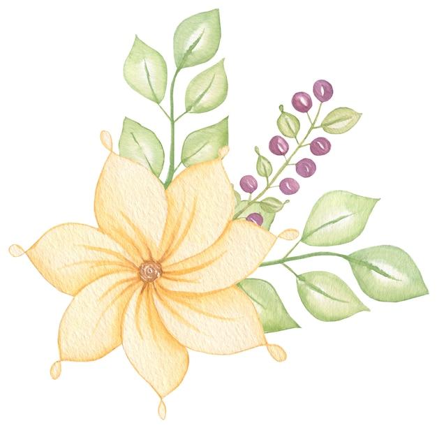 Mazzo botanico floreale variopinto sveglio con le foglie e i fiori, acquerello delle bacche. Foto Premium