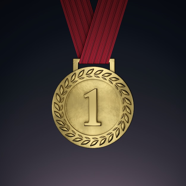 Medaglia d'oro con nastro. rendering 3d Foto Premium