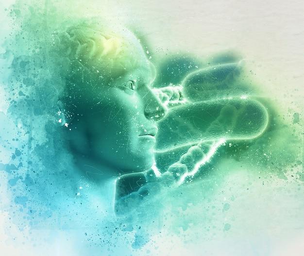 Medici di fondo grunge dna 3d con la figura maschile con le cellule del cervello e virus Foto Gratuite