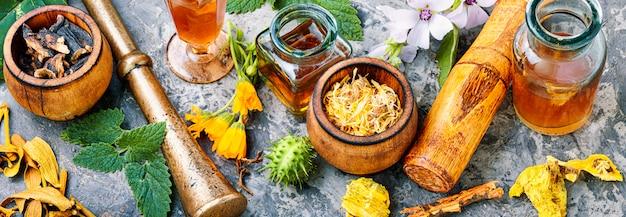 Medicina naturopatica a base di erbe Foto Premium
