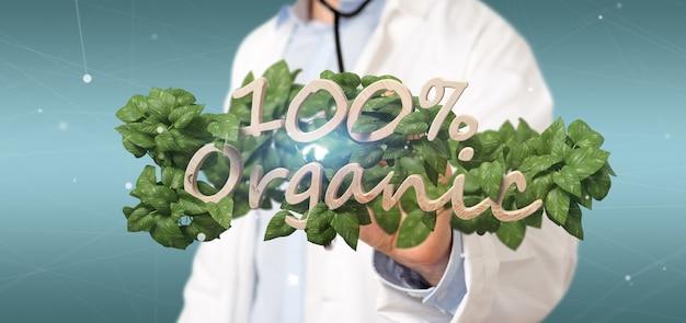 Medico in possesso di un logo in legno al 100% organico con foglie intorno Foto Premium