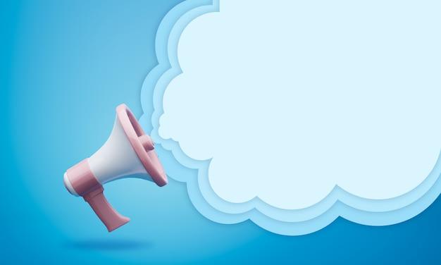 Megafono con sfondo 3d nuvoletta Foto Premium
