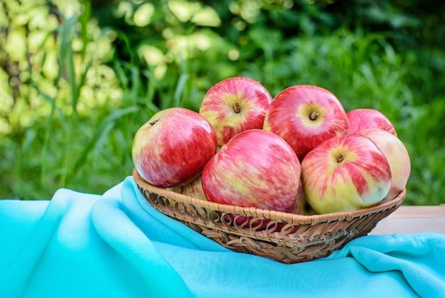 Mele rosse in un piatto di vimini con tessuto turchese su uno sfondo di giardino verde Foto Premium