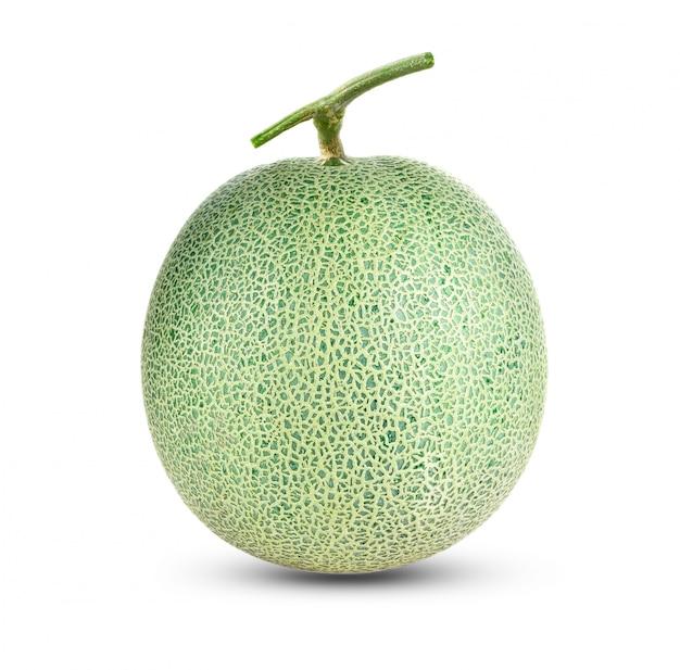 Melone del cantalupo isolato su bianco Foto Premium