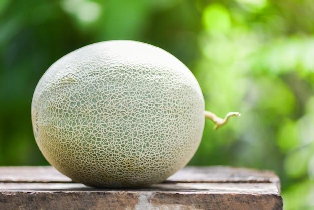 Meloni freschi o melone verde del melone sulla tavola e sulla natura di legno Foto Premium