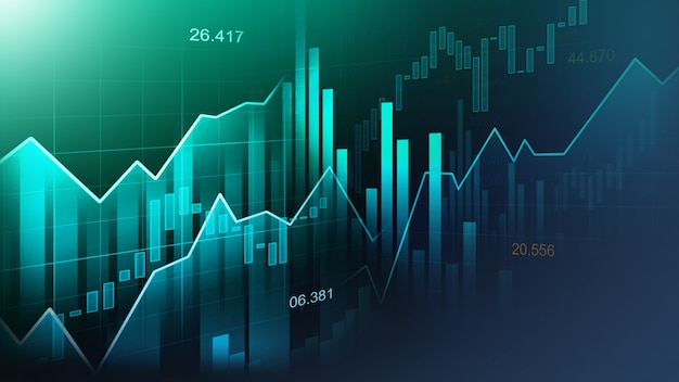 Mercato azionario o forex grafico commerciale Foto Premium