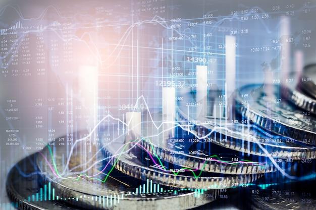 Mercato azionario o forex trading grafico e candelabro per sfondo di investimento finanziario. Foto Premium