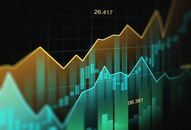 Mercato azionario o forex trading grafico in concetto grafico Foto Premium