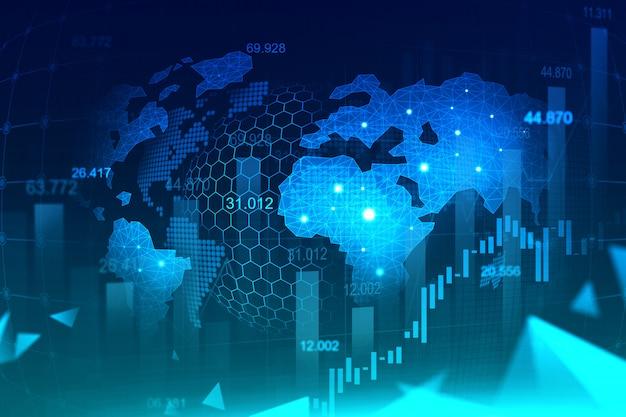 Mercato azionario o forex trading grafico nel concetto futuristico Foto Premium