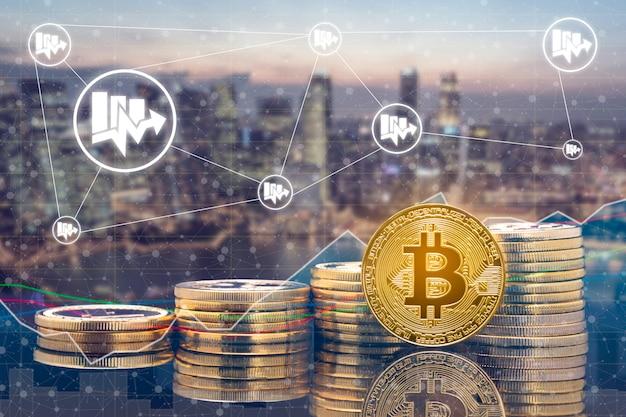 Mercato di scambio e scambio di monete digitali in criptovaluta Foto Premium