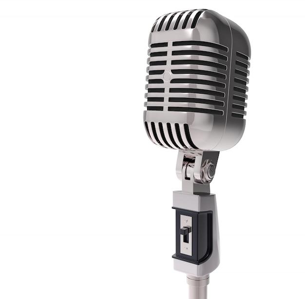 Microfono retrò 3d. isolato Foto Premium