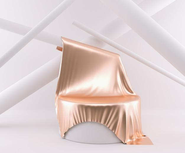 Minima scena di rendering 3d con podio. forma geometrica nei colori dorati. Foto Premium
