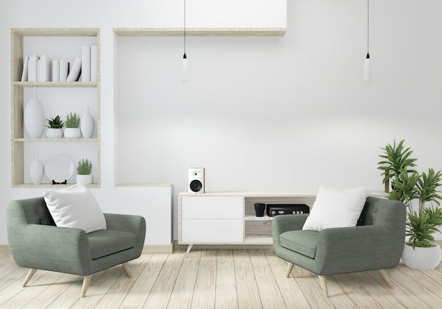 Minimalista moderno soggiorno zen con pavimento in legno e decorazioni in stile giapponese Foto Premium
