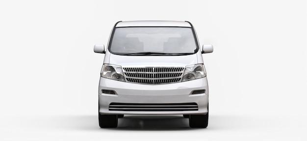 Minivan bianco per il trasporto di persone. illustrazione tridimensionale su uno sfondo bianco lucido Foto Premium