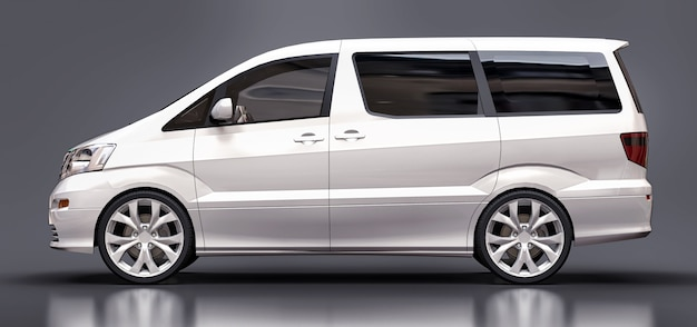 Minivan bianco per trasporto di persone tridimensionale su grigio lucido Foto Premium