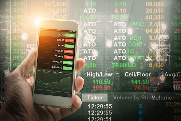 Mobile forex trader concept Foto Premium