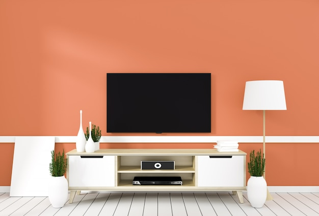 Mobile tv in camera moderna arancione, design minimale, stile zen. rendering 3d Foto Premium