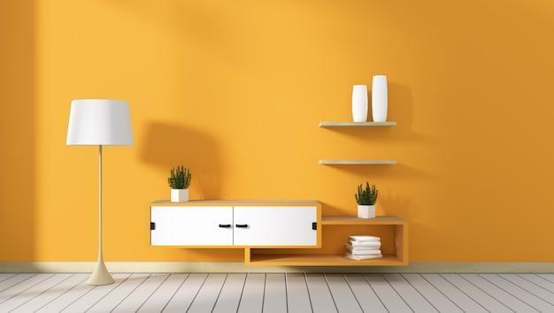 Mobile tv in camera moderna gialla, disegni minimal, stile zen. rendering 3d Foto Premium