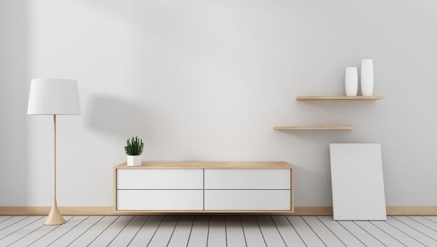 Mobile tv in moderna stanza vuota giapponese - stile zen, design minimal. rendering 3d Foto Premium