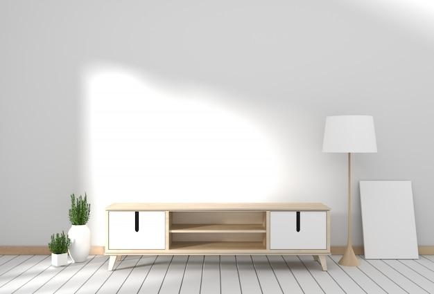Mobile tv nella moderna stanza vuota giapponese - stile zen, design minimal. rendering 3d Foto Premium