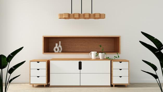 Mock up, armadietto nella moderna stanza vuota, design minimal giapponese della stanza zen Foto Premium