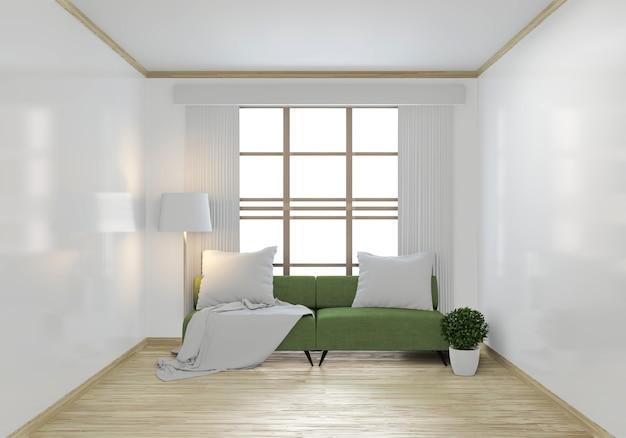 Mock up divano verde e piante decorative Foto Premium