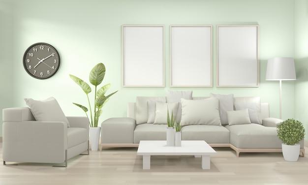 Mock up frame poster in salotto con divano giallo e piante decorative sul pavimento Foto Premium